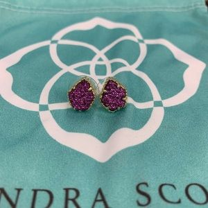 Kendra Scott Amethyst Drusy Studs Earrings